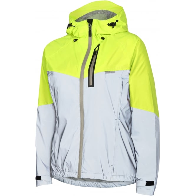 Madison Stellar Reflective Women's Waterproof Jacket, Silver / Hi-Viz Yellow Size - 10